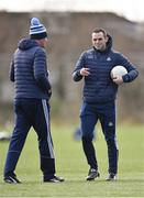 23 February 2020; Dublin defensive coach Paul Casey, right, with Dublin manager Mick Bohan before the 2020 Lidl Ladies National Football League Division 1 Round 4 match between Dublin and Galway at Dublin City University Sportsgrounds in Glasnevin, Dublin. Photo by Piaras Ó Mídheach/Sportsfile