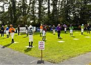 24 March 2020; Jockeys and trainers in the parade ring observe social distancing guidlines prior to the Money Back On The BoyleSports App Maiden Hurdle at Clonmel Racecourse in Clonmel, Tipperary. Photo by Seb Daly/Sportsfile