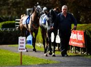 24 March 2020; A view of a social distancing advisory sign in the parade ring prior to racing at Clonmel Racecourse in Clonmel, Tipperary. Photo by Seb Daly/Sportsfile