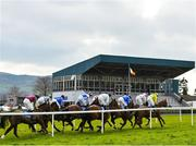 24 March 2020; A view of the field as they pass the grandstand during the Play Lotto On The BoyleSports App Maiden Hurdle at Clonmel Racecourse in Clonmel, Tipperary. Photo by Seb Daly/Sportsfile