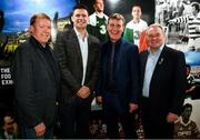 13 February 2020; In attendance, from left, Former Republic of Ireland international Steve Staunton, Former Republic of Ireland international and current FAI Interim Deputy Chief Executive Niall Quinn, Republic of Ireland U21 manager Stephen Kenny, and Former Republic of Ireland international Ray Houghton during the National Football Exhibition Launch at the County Museum in Dundalk, Co Louth. The Football Association of Ireland, Dublin City Council and The Department of Transport, Tourism and Sport have joined forces to create a National Football Exhibition as part of the build up to Ireland's Aviva Stadium playing host to four matches in the UEFA EURO 2020 Championships in June. The Exhibition is a celebration of Irish football and 60 Years of the European Championships. The Exhibition will be running in the County Museum, Dundalk, Co. Louth from February 14th – 29th. Photo by Stephen McCarthy/Sportsfile