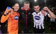 5 October 2018; Dundalk manager Stephen Kenny, centre, celebrates with Gary Rogers, left, and Michael Duffy following the SSE Airtricity League Premier Division match between Dundalk and St Patrick's Athletic at Oriel Park, Dundalk, in Louth. Photo by David Fitzgerald/Sportsfile