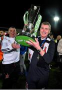 19 October 2018; Dundalk manager Stephen Kenny celebrates with the trophy following the SSE Airtricity League Premier Division match between Dundalk and Sligo Rovers at Oriel Park in Dundalk, Louth. Photo by Seb Daly/Sportsfile