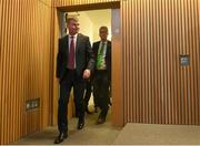 26 November 2018; Newly appointed Republic of Ireland U21 manager Stephen Kenny, left, and FAI High Performace Director Ruud Dokter arrive to a press conference at Aviva Stadium in Dublin. Photo by Eóin Noonan/Sportsfile