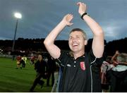 27 July 2006; Derry City manager Stephen Kenny celebrates at the end of the game. UEFA Cup 1st Round, 2nd Leg, Derry City v IFK Gothenburg, Brandywell, Derry. Photo by David Maher/Sportsfile
