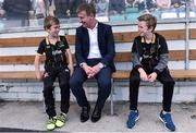 2 August 2016; Dundalk manager Stephen Kenny with his two sons, Eoin, left, age 10, and Fionn, age 12, prior to the UEFA Champions League Third Qualifying Round 2nd Leg match between Dundalk and BATE Borisov at Tallaght Stadium in Tallaght, Co. Dublin. Photo by David Maher/Sportsfile