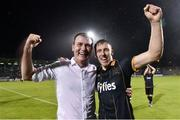 2 August 2016; Dundalk manager Stephen Kenny, left, celebrates with David McMillan after the UEFA Champions League Third Qualifying Round 2nd Leg match between Dundalk and BATE Borisov at Tallaght Stadium in Tallaght, Co. Dublin. Photo by David Maher/Sportsfile