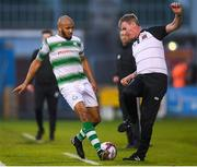 1 June 2018; Ethan Boyle of Shamrock Rovers and Dundalk manager Stephen Kenny during the SSE Airtricity League Premier Division match between Shamrock Rovers and Dundalk at Tallaght Stadium in Dublin. Photo by Stephen McCarthy/Sportsfile
