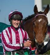 22 March 2020; Jockey Ben Harvey with Space Cadet after winning the Randox Ulster National Handicap Steeplechase at Downpatrick Racecourse in Downpatrick, Down. Photo by Ramsey Cardy/Sportsfile