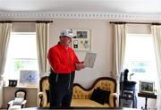 7 April 2020; Amateur Golf Champion James Sugrue with his invitation to the 2020 Masters tournament in Augusta National Golf Club, Georgia, at his home in Mallow, Cork. Photo by Eóin Noonan/Sportsfile