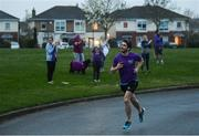 10 April 2020; Former Dublin footballer Bernard Brogan, assisting Former Dundalk, Drogheda United, Bray Wanderers and current St Mochta's player Mick Daly during the 8pm run, as he aims to raise much-needed funds for Cystic Fibrosis Ireland. So as to reflect 65 Roses, Mick Daly along with others are taking part in a challenge - 6k run every 5 hours over the day. The 6k route in Riverwood / Carpenterstown area was first run on Friday at 12am then 5am, 10am, 3pm and final one at 8pm. Photo by Stephen McCarthy/Sportsfile