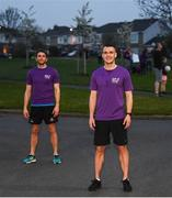 10 April 2020; Former Dundalk, Drogheda United, Bray Wanderers and current St Mochta's player Mick Daly, following his 8pm run, with the aid of Former Dublin footballer Bernard Brogan, left, aims to raise much-needed funds for Cystic Fibrosis Ireland. So as to reflect 65 Roses, Mick Daly along with others are taking part in a challenge - 6k run every 5 hours over the day. The 6k route in Riverwood / Carpenterstown area was first run on Friday at 12am then 5am, 10am, 3pm and final one at 8pm. Photo by Stephen McCarthy/Sportsfile