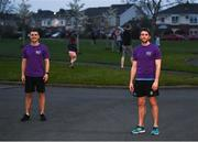 10 April 2020; Former Dundalk, Drogheda United, Bray Wanderers and current St Mochta's player Mick Daly, following his 8pm run, with the aid of Former Dublin footballer Bernard Brogan, right, aims to raise much-needed funds for Cystic Fibrosis Ireland. So as to reflect 65 Roses, Mick Daly along with others are taking part in a challenge - 6k run every 5 hours over the day. The 6k route in Riverwood / Carpenterstown area was first run on Friday at 12am then 5am, 10am, 3pm and final one at 8pm. Photo by Stephen McCarthy/Sportsfile