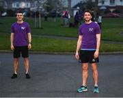 10 April 2020; Former Dundalk, Drogheda United, Bray Wanderers and current St Mochta's player Mick Daly, following his 8pm run, with former Dublin footballer Bernard Brogan, right, aims to raise much-needed funds for Cystic Fibrosis Ireland. So as to reflect 65 Roses, Mick Daly along with others are taking part in a challenge - 6k run every 5 hours over the day. The 6k route in Riverwood / Carpenterstown area was first run on Friday at 12am then 5am, 10am, 3pm and final one at 8pm. Photo by Stephen McCarthy/Sportsfile
