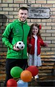 17 April 2020; Republic of Ireland and Shamrock Rovers midfielder Jack Byrne poses with his niece Grace, who celebrated her fourth birthday, at their home, off Clonliffe Road, in Dublin. Photo by Stephen McCarthy/Sportsfile