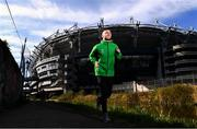 17 April 2020; Republic of Ireland and Shamrock Rovers midfielder Jack Byrne passes Croke Park during a training run along the Royal Canal at Ballybough near his home in Dublin. Photo by Stephen McCarthy/Sportsfile