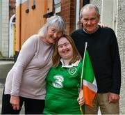 23 April 2020; Some of Ireland's biggest football fans will get the chance to quiz new Republic of Ireland manager Stephen Kenny and World Cup legend Niall Quinn in an exclusive online show hosted by Down Syndrome and the FAI on Friday afternoon. Here Republic of Ireland supporter Sarah Carroll is pictured with mer mam and dad, Margaret and Micheal, near her home in Portobello, Dublin, in advance of the Facebook event. Photo by Ray McManus/Sportsfile
