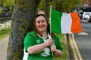 23 April 2020; Some of Ireland's biggest football fans will get the chance to quiz new Republic of Ireland manager Stephen Kenny and World Cup legend Niall Quinn in an exclusive online show hosted by Down Syndrome and the FAI on Friday afternoon. Here Republic of Ireland supporter Sarah Carroll is pictured near her home in Portobello, Dublin, in advance of the Facebook event. Photo by Ray McManus/Sportsfile