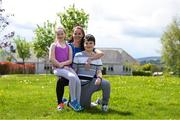 5 May 2020; Hannah Nolan from Tinahely, Wicklow, with her children Chloe, age 10, and William, age 11, during Active At Home Week. The Daily Mile is promoted by Athletics Ireland. Photo by Matt Browne/Sportsfile