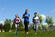 5 May 2020; Hannah Nolan from Tinahely, Wicklow, leads the way for her children Chloe, age 10, and William, age 11, during Active At Home Week. The Daily Mile is promoted by Athletics Ireland. Photo by Matt Browne/Sportsfile