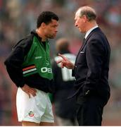 29 May 1994; Jack Charlton has a word with Paul McGrath during the International Friendly match between Republic of Ireland and Germany at Stuttgart in Germany. Photo by Ray McManus/Sportsfile