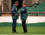 28 March 1995. Jack Charlton has words with Roy Keane during an Irish Training session. Photo by Ray McManus/Sportsfile