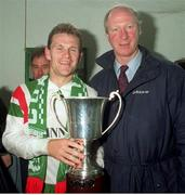 22 May 1993. Cork City captain Declan Daly with the then Rep of Ireland Manager Jack Charlton and the League trophy after their League Championship victory. FAI National League, R.D.S., Dublin. Soccer. Photo by David Maher/Sportsfile