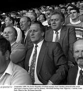 3 September 1989; The former Republic of Ireland manager Jack Charlton, pictured in the crowd Also in pic is Maurice Setters and Joe Delaney. All-Ireland Hurling Final, Tipperary v Antrim, Croke Park. Photo by Ray McManus/Sportsfile