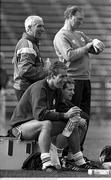 Republic of Ireland's Mick McCarthy, seated, alongside equipment officer Charlie Byrne, with manager Jack Charlton and physio Mick Byrne during a training session Lansdowne road, Dublin. Photo by Ray McManus/Sportsfile