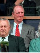 26 May 1996; Former Republic of Ireland manager Jack Charlton watches on during the Mick McCarthy Testimonial at Lansdown Road in Dublin. Photo by Brendan Moran/Sportsfile