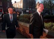 6 December 1996; Former Rep of Ireland Manager Jack Charlton and Maurice Setters  arrive yesterday at Davitt House ,Dublin,for a unfair dismissal case against the F.A.I. Photo by David Maher/Sportsfile