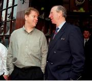 21 December 1995; Jack Charlton with his son John outside the Baggot Inn, Baggot St, Dublin, after he announced his resignation as the Rep of Ireland manager. Photo by David Maher/Sportsfile