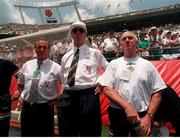 28 June 1994; Jack Charlton, Republic of Ireland Manager, Maurice Setters, Assistant Manager and Mick Byrne, Physio Soccer. Photo by David Maher/Sportsfile