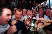 6 May 2001; Bohemians players celebrate with the cup after the win over Kilkenny, eircom league trophy after victory over Kilkenny City, eircom league premier division, Kilkenny City v Bohemians, Soccer, Buckley Park, Co. Kilkenny. Photo by Matt Browne/Sportsfile