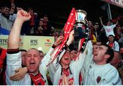 6 May 2001; From left Paul Byrne, Dave Hill and Michael Dempsey lift the eircom league trophy after victory over Kilkenny City, eircom league premier division, Kilkenny City v Bohemians, Soccer, Buckley Park, Co. Kilkenny. Photo by Damien Eagers/Sportsfile