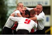 6 May 2001; Trevor Molloy, (9) Bohemians is congratulated by teammates after scoring, their victory over Kilkenny City lead to them being eircom league Champions, eircom league premier division, Kilkenny City v Bohemians, Soccer, Buckley Park, Co. Kilkenny. Photo by Matt Browne/Sportsfile