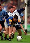 27 May 2001; David Hannify, Longford is tackled by Stephen Cluxton, Dublin goalkeeper, Dublin v Longford, Leinster Senior Football Championship, Croke Park, Dublin. Photo by Damien Eagers/Sportsfile