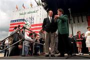 7 July 1994; Jack Charlton is interviewed by broadcaster Pat Kenny in the Phoenix Park when the Republic of Ireland team returned from the 1994 World Cup in the USA. Photo by David Maher/Sportsfile