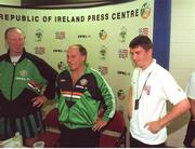 June 1994; Republic of Ireland Assistant Manager Maurice Setters, centre, accompanied by Manager Jack Charlton and Roy Keane, speaks at a press conference to confirm that there had been no difference of opinion between himself and Roy Keane during the USA '94 campaign. Soccer. Photo by Ray McManus/Sportsfile