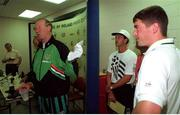 June 1994; Republic of Ireland manager Jack Charlton pictured at a press conference to confirm that there had been no difference of opinion between his Assistant Manager Maurice Setters and Roy Keane, right, during the USA '94 campaign. Soccer. Photo by Ray McManus/Sportsfile