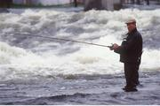 6 June 1993; Republic of Ireland manager Jack Charlton during a fishing trip to Galway. Photo by Ray McManus / Sportsfile