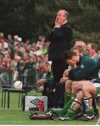 4 June 1995; Republic of Ireland manager Jack Charlton looks on during the final moments of the game while Niall Quinn holds his head in his hands. European Championship Qualifier, Republic of Ireland v Liechtenstein, Liechtenstein. Photo by Ray McManus/Sportsfile