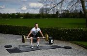 6 May 2020; Irish National Champion Olympic Weightlifer Seán Brown during a training session at his home in Athy, Kildare. Photo by David Fitzgerald/Sportsfile