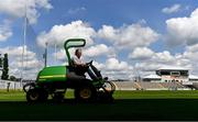 9 May 2020; Offaly groundsman and chief steward Jim Kelly, from Ballycumber, Offaly, tends to the pitch at Bord na Mona O'Connor Park on the afternoon of the Leinster GAA Football Senior Championship Round 1 match between Carlow and Offaly at Bord na Mona O'Connor Park in Tullamore, Offaly. This weekend, May 9 and 10, was due to be the first weekend of games in Ireland of the GAA All-Ireland Senior Championship, beginning with provincial matches, which have been postponed following directives from the Irish Government and the Department of Health in an effort to contain the spread of the Coronavirus (COVID-19). The GAA have stated that no inter-county games will take place before October 2020. Photo by Sam Barnes/Sportsfile