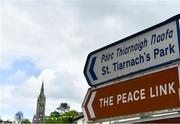 10 May 2020; A general view of a signpost to St Tiernach's Park on the afternoon of the Ulster GAA Football Senior Championship Preliminary Round match between Monaghan and Cavan at St Tiernach's Park in Clones, Monaghan. This weekend, May 9 and 10, was due to be the first weekend of games in Ireland of the GAA All-Ireland Senior Championship, beginning with provincial matches, which have been postponed following directives from the Irish Government and the Department of Health in an effort to contain the spread of the Coronavirus (COVID-19). The GAA have stated that no inter-county games will take place before October 2020. Photo by Brendan Moran/Sportsfile