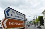 10 May 2020; A general view of a signpost on Fermanagh Street for St Tiernach's Park on the afternoon of the Ulster GAA Football Senior Championship Preliminary Round match between Monaghan and Cavan at St Tiernach's Park in Clones, Monaghan. This weekend, May 9 and 10, was due to be the first weekend of games in Ireland of the GAA All-Ireland Senior Championship, beginning with provincial matches, which have been postponed following directives from the Irish Government and the Department of Health in an effort to contain the spread of the Coronavirus (COVID-19). The GAA have stated that no inter-county games will take place before October 2020. Photo by Brendan Moran/Sportsfile