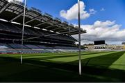 13 May 2020; A general view of Croke Park, with the Hogan Stand to the fore, during a Health Service Executive / GAA media walkabout of the testing facilities in Croke Park in Dublin. On 16th March, the GAA offered up Croke Park stadium to the Health Service Executive of Ireland as a walk up or drive-thru venue for testing members of the public, by appointment only, during the coronavirus (Covid19) pandemic. Photo by Ray McManus/Sportsfile