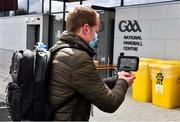 13 May 2020; John Harrington, a member of the GAA media team, records a video during a demonstration to the media of the testing facilities in Croke Park in Dublin. On 16th March, the GAA offered up Croke Park stadium to the Health Service Executive of Ireland as a walk up or drive-thru venue for testing members of the public, by appointment only, during the coronavirus (Covid19) pandemic. It continues to be used as a testing facility.  Photo by Ray McManus/Sportsfile