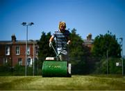 15 May 2020; Groundsman David Sloan cuts the lawn courts at Stratford Lawn Tennis Club in Rathmines, Dublin, as it prepares to re-open as one of the first sports allowed to resume having followed previous directives from the Irish Government on suspending all tennis activity in an effort to contain the spread of the Coronavirus (COVID-19). Tennis clubs in the Republic of Ireland can resume activity from May 18th under the Irish government's Roadmap for Reopening of Society and Business once they follow the protocol published by the Tennis Ireland. The protocol sets out safe measures for tennis to return in a phased manner. Photo by Stephen McCarthy/Sportsfile
