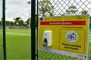 15 May 2020; A general view of a hand sanitising station at Malahide Lawn Tennis and Croquet Club in Dublin as it prepares to re-open as one of the first sports allowed to resume having followed previous directives from the Irish Government on suspending all tennis activity in an effort to contain the spread of the Coronavirus (COVID-19). Tennis clubs in the Republic of Ireland can resume activity from May 18th under the Irish government's Roadmap for Reopening of Society and Business once they follow the protocol published by Tennis Ireland. The protocol sets out safe measures for tennis to return in a phased manner. Photo by Brendan Moran/Sportsfile